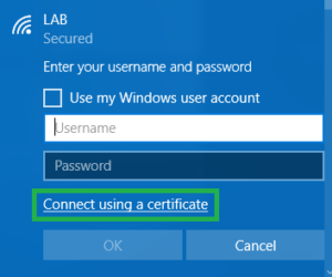 Connecting to certificate based WLAN