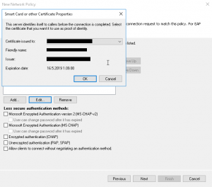 Authentication methods certificate select